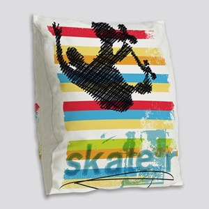 Skateboarder Ink Sketch Jump o Burlap Throw Pillow