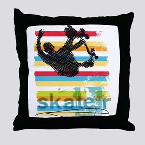 Skateboarder Ink Sketch Jump on Rainb Throw Pillow
