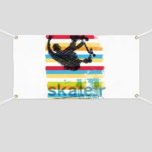 Skateboarder Ink Sketch Jump on Rainbow Bac Banner