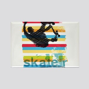 Skateboarder Ink Sketch Jump on Rainbow Ba Magnets