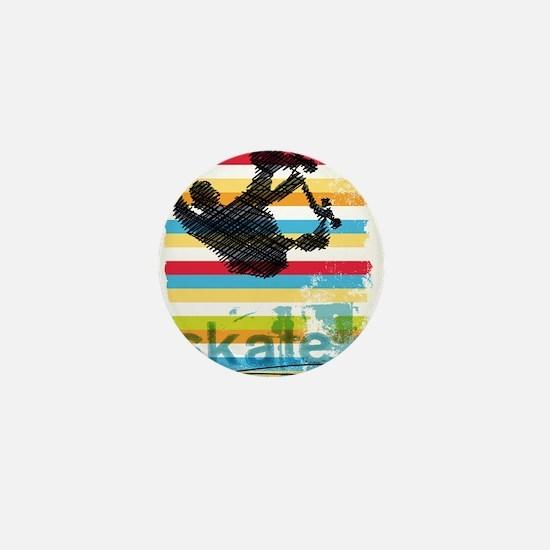 Skateboarder Ink Sketch Jump on Rainbo Mini Button