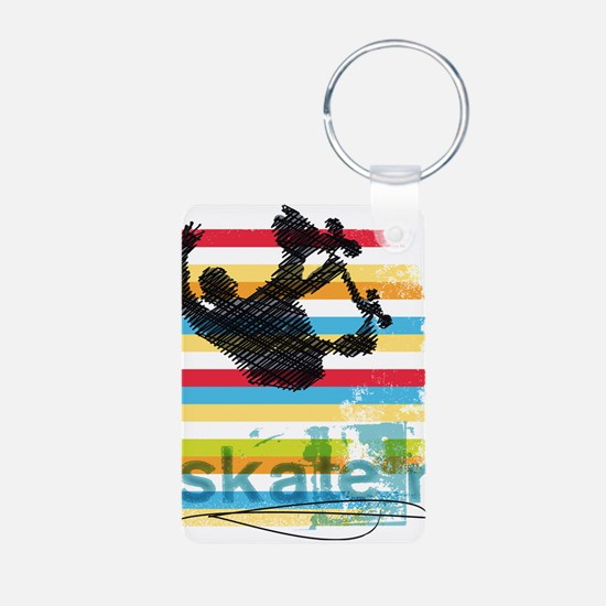 Skateboarder Ink Sketch Jump on Rainbow Keychains