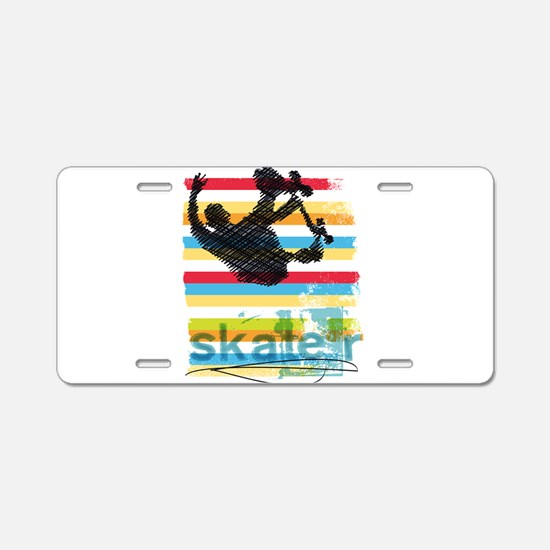 Skateboarder Ink Sketch Jum Aluminum License Plate