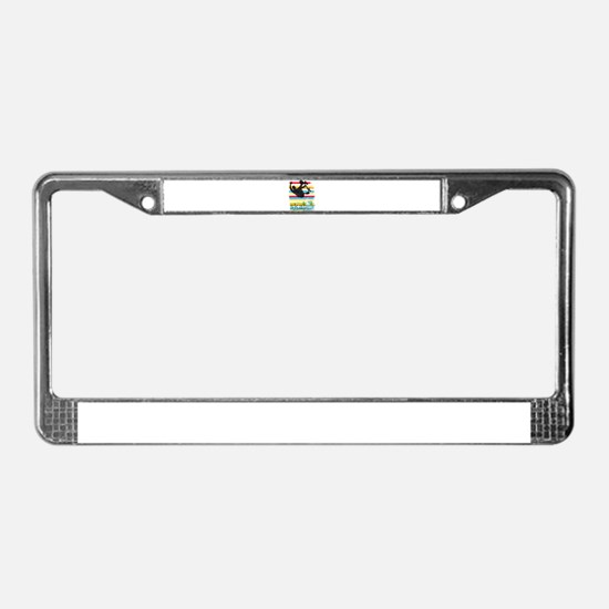 Skateboarder Ink Sketch Jump o License Plate Frame