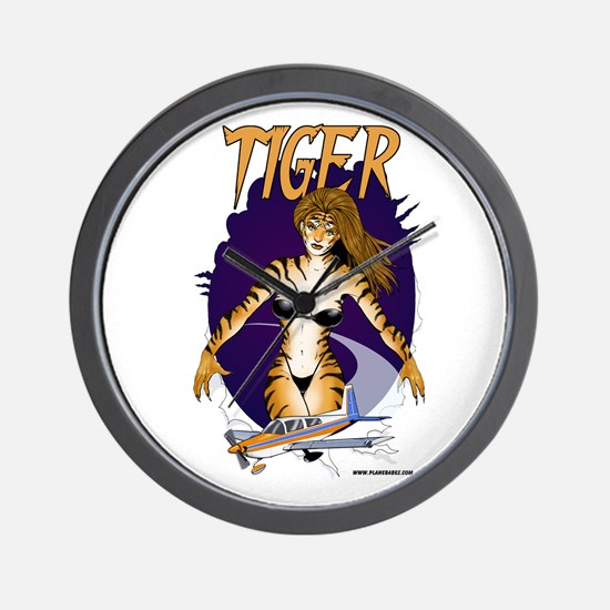Tiger Cat Aircraft Wall Clock