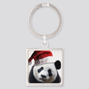 Christmas Panda Bear Square Keychain