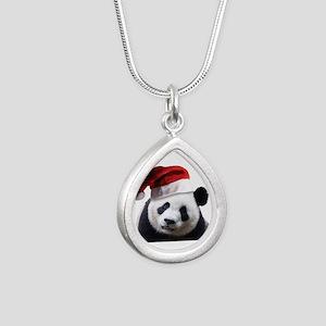Christmas Panda Bear Silver Teardrop Necklace