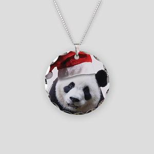 Christmas Panda Bear Necklace Circle Charm