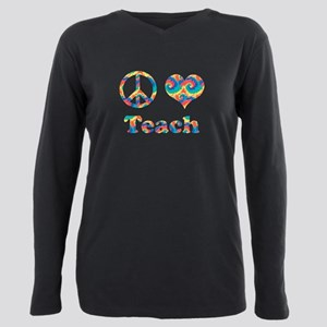 2-peace love teach copy. Plus Size Long Sleeve Tee