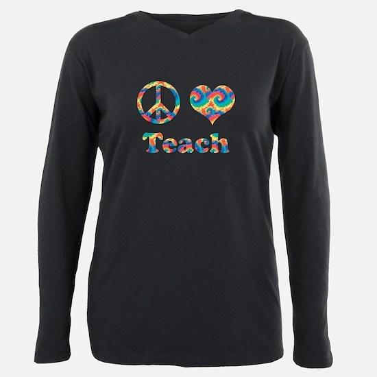 2-peace love teach copy. Plus Size Long Sleeve Tee