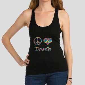2-peace love teach copy.png Racerback Tank Top
