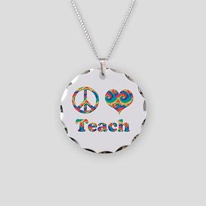 2-peace love teach copy Necklace Circle Charm