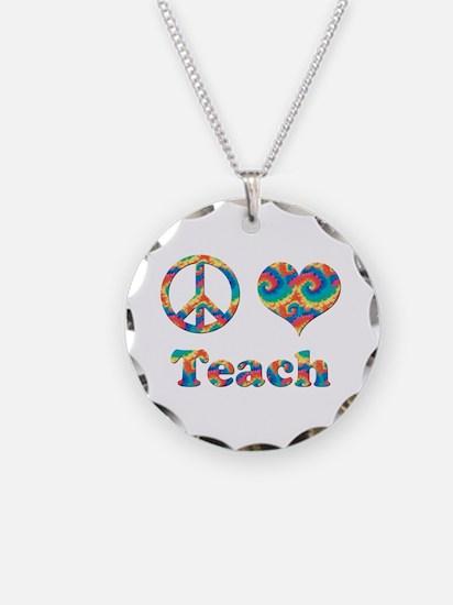 2-peace love teach copy.png Necklace Circle Charm