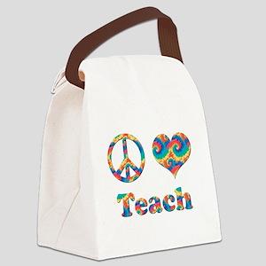 2-peace love teach copy Canvas Lunch Bag
