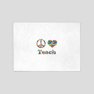 2-peace love teach copy 5'x7'Area Rug