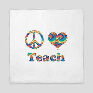 2-peace love teach copy.png Queen Duvet