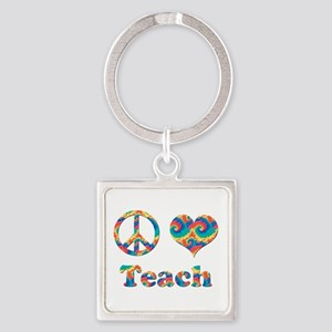 2-peace love teach copy Keychains