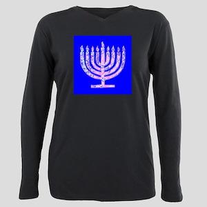 Blue Menorah Hanukkah Le Plus Size Long Sleeve Tee