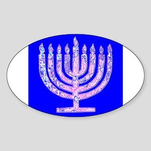 Blue Menorah Hanukkah 47 Designer Sticker