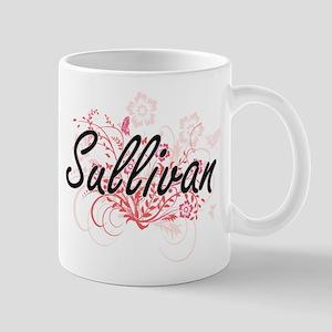 Sullivan surname artistic design with Flowers Mugs
