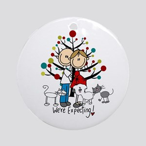 Expectant Couple Dog 2 Cats Round Ornament