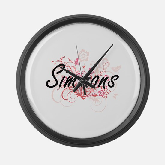 Simmons surname artistic design w Large Wall Clock