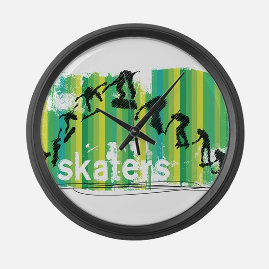 Ink Sketch of Skateboard Sequence Large Wall Clock