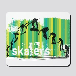 Ink Sketch of Skateboard Sequence Green Mousepad