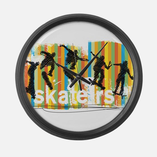 Ink Sketch of Skateboarder Progre Large Wall Clock
