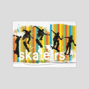Ink Sketch of Skateboarder Progress 5'x7'Area Rug