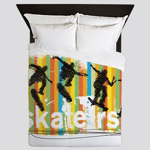 Ink Sketch of Skateboarder Progressive Queen Duvet