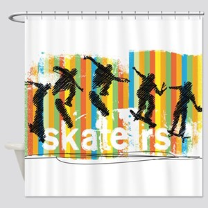 Ink Sketch of Skateboarder Progress Shower Curtain
