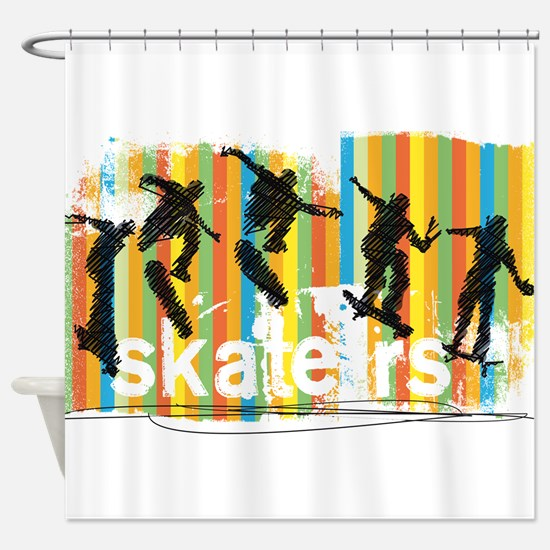 Ink Sketch of Skateboarder Progress Shower Curtain