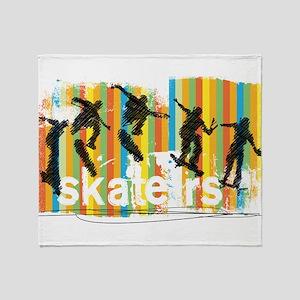 Ink Sketch of Skateboarder Progressi Throw Blanket