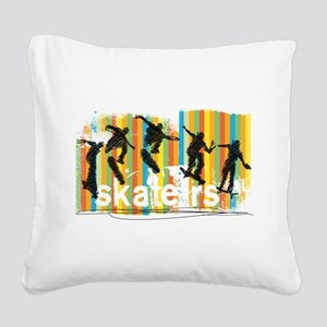Ink Sketch of Skateboarder Pr Square Canvas Pillow