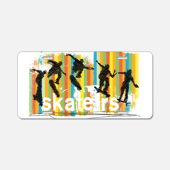 Ink Sketch of Skateboarder Aluminum License Plate