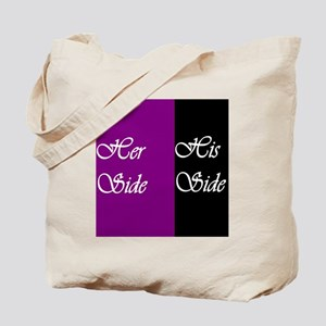 Her Side: His Side , purple, black Tote Bag