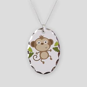 Baby Monkey Necklace Oval Charm