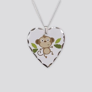 Baby Monkey Necklace Heart Charm