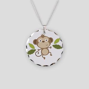 Baby Monkey Necklace Circle Charm