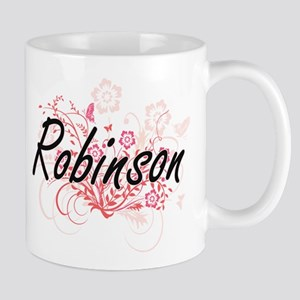 Robinson surname artistic design with Flowers Mugs
