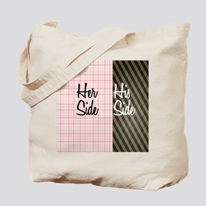 Her Side His Side Plaid Tote Bag