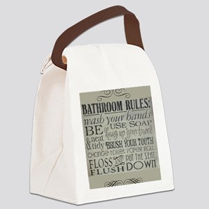bathroom rules Canvas Lunch Bag