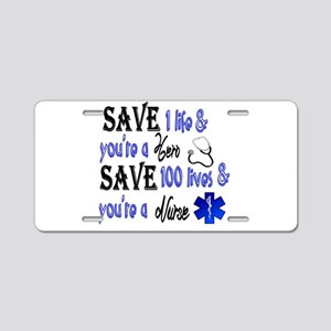 Nurse, Save Aluminum License Plate
