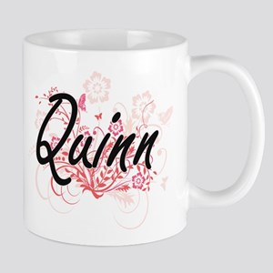 Quinn surname artistic design with Flowers Mugs