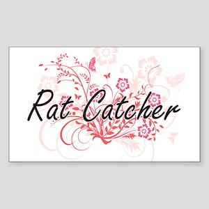 Rat Catcher Artistic Job Design with Flowe Sticker