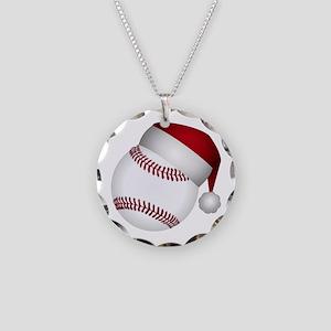 Christmas Baseball Necklace Circle Charm