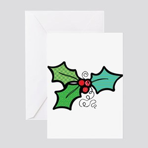 Cute Mistletoe (Holly) Design Greeting Card