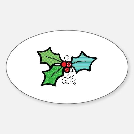 Cute Mistletoe (Holly) Design Oval Decal