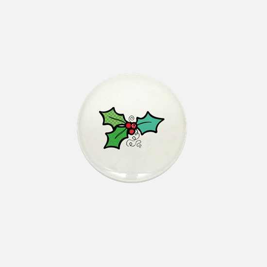 Cute Mistletoe (Holly) Design Mini Button